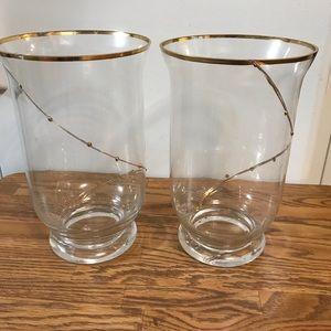 Twin gold trimmed flower vases